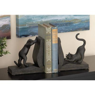 LITTON LANE 7 in. x 6 in. Polystone and Wood Reading Cat Bookends, Black