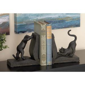 7 inch x 6 inch Polystone and Wood Reading Cat Bookends by