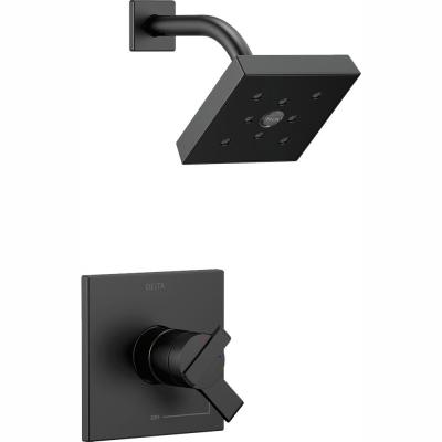 Ara 1-Handle Wall Mount Shower Trim Kit with H2Okinetic in Matte Black (Valve Not Included)