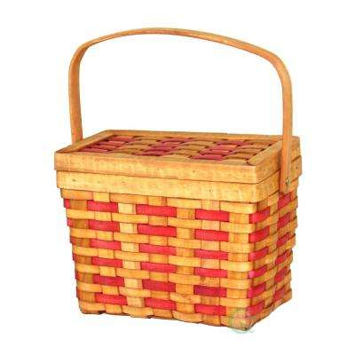 "9"" W x 7"" H x 5"" D Wood Rectangle Basket with Burgundy Stripes"