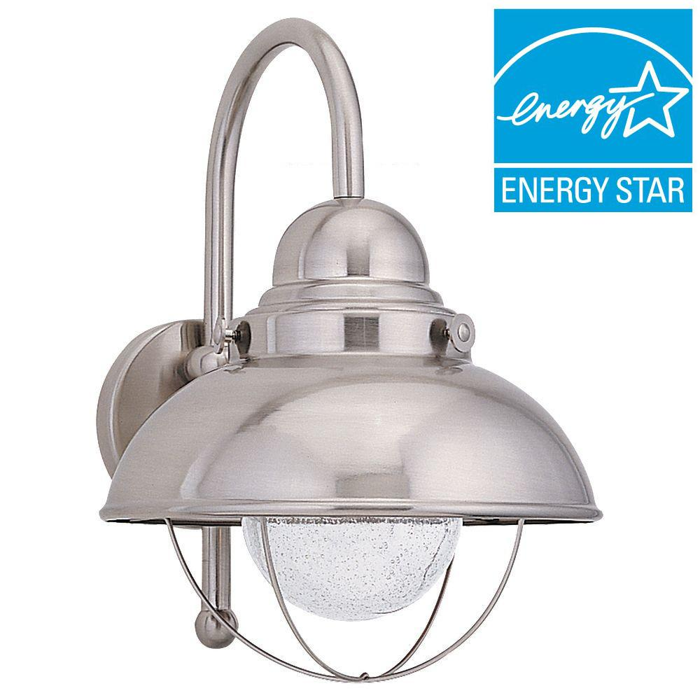 Sea Gull Lighting Sebring 1-Light Brushed Stainless Outdoor Wall Fixture