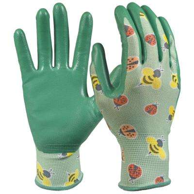 Youth Girls Nitrile Coated Garden Gloves
