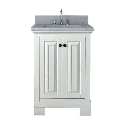 Richmond 24 in. W x 22 in. D Bath Vanity in White with Marble Vanity Top in White with White Basin