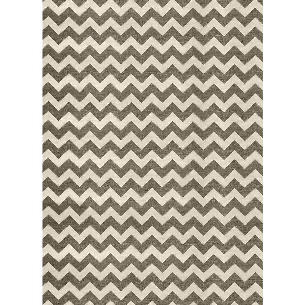 Ruggable Washable Chevron Rich Grey And White 5 Ft. X 7 Ft