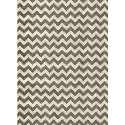 Washable Chevron Rich Grey and White 5 ft. x 7 ft. Stain Resistant Area Rug