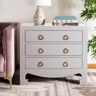 Dion 3-Drawer Gray/Gold Chest