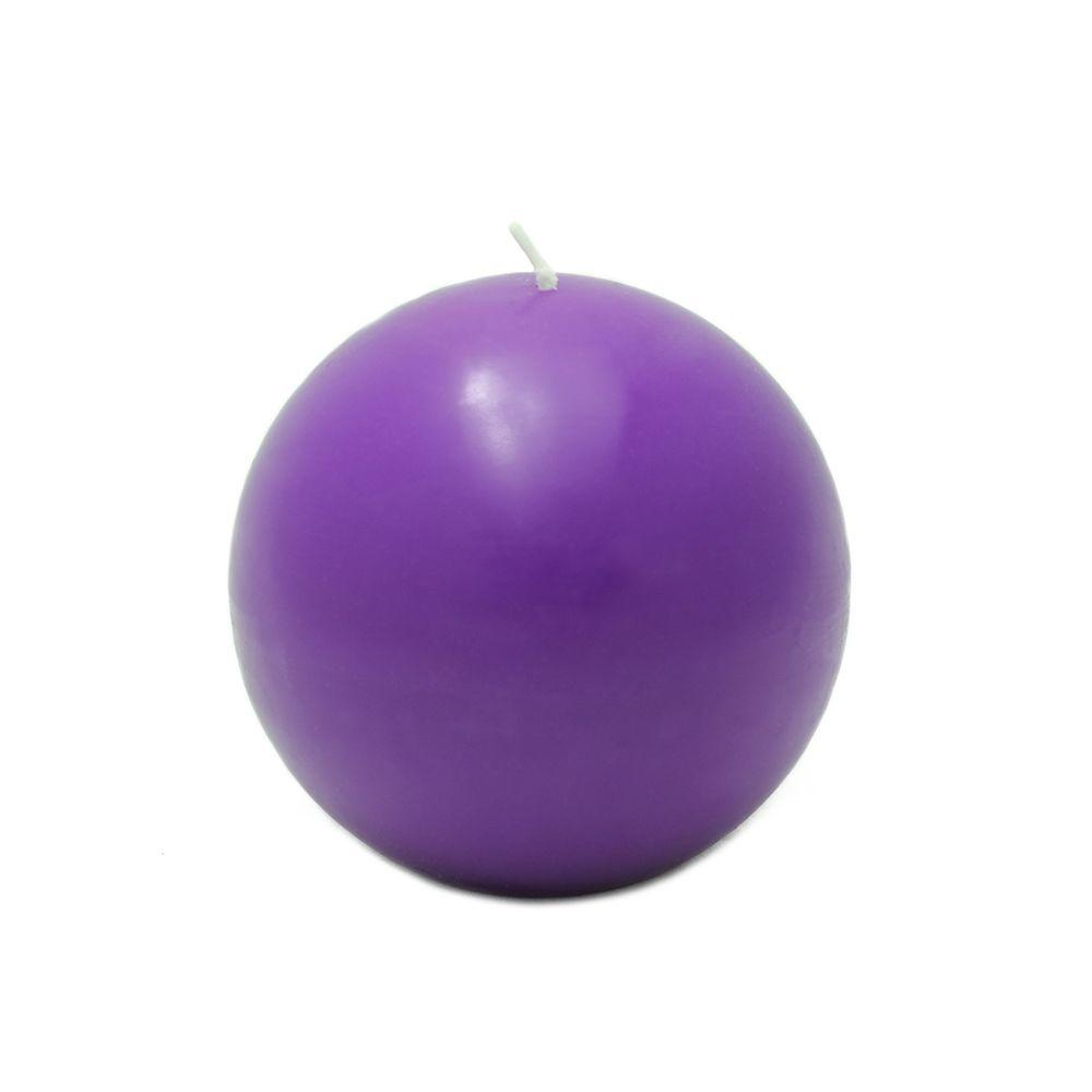 Zest Candle 4 in. Purple Ball Candles (2-Box)