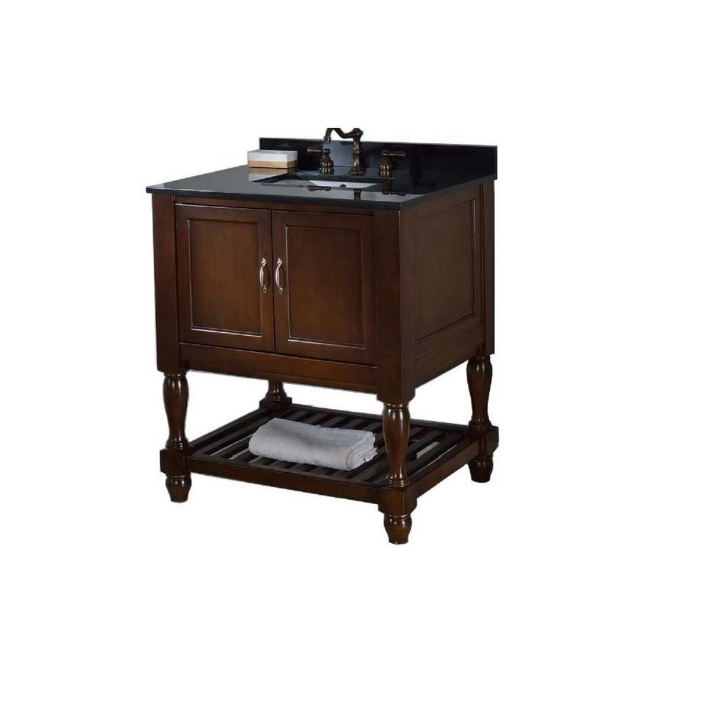 Direct vanity sink Mission Turnleg Spa 32 in. Vanity in Dark Brown with Granite Vanity Top in Black with White Basin
