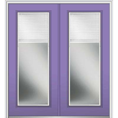 72 in. x 80 in. Internal Blinds Right-Hand Inswing Full Lite Clear Low-E Painted Fiberglass Smooth Prehung Front Door