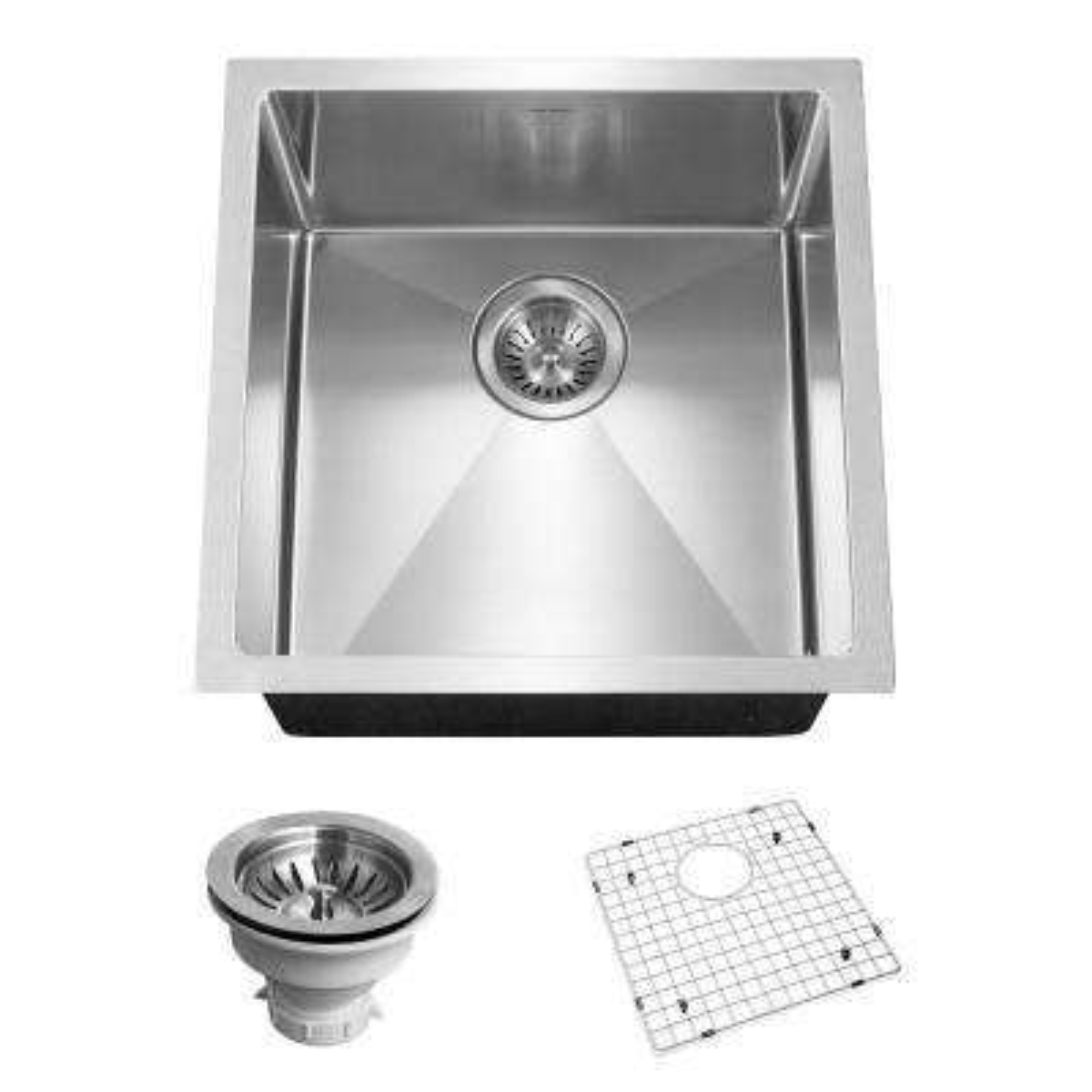 Savoir Series Undermount Stainless Steel 17 in. Single Bowl Kitchen Sink, Satin Brushed