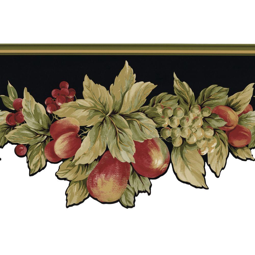 The Wallpaper Company 13.5 in. x 15 ft. Black Die-Cut Fruit and Ivy Border-DISCONTINUED