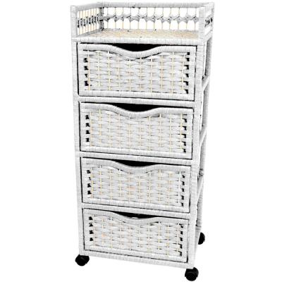 4-Drawer White Wheeled Natural Fiber Trunk