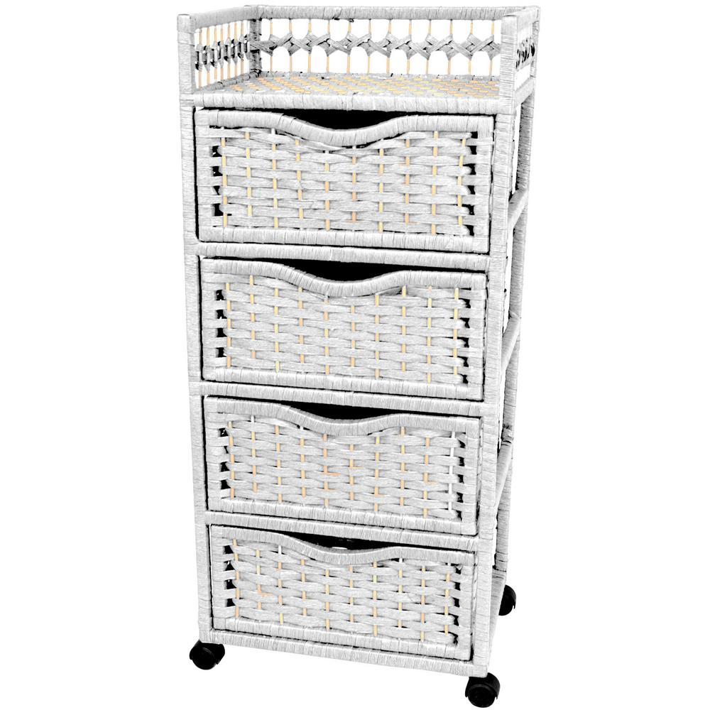 Oriental Furniture 4-Drawer White Wheeled Natural Fiber Trunk