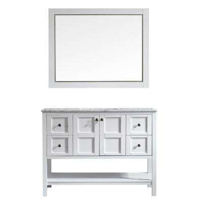 Florence 48 in. W x 22 in. D x 35 in. H Vanity in White with Marble Vanity Top in White with Basin and Mirror