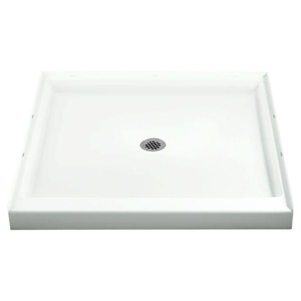 Ensemble 36 in. x 36 in. Single Threshold Shower Base with Center Drain in White