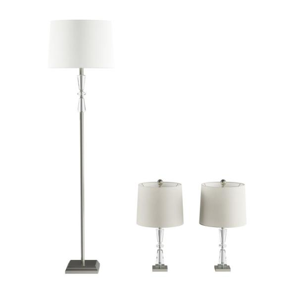 23 in. Crystal Double Tiered Table Lamps and 63 in. Floor Lamp (Set of 3)