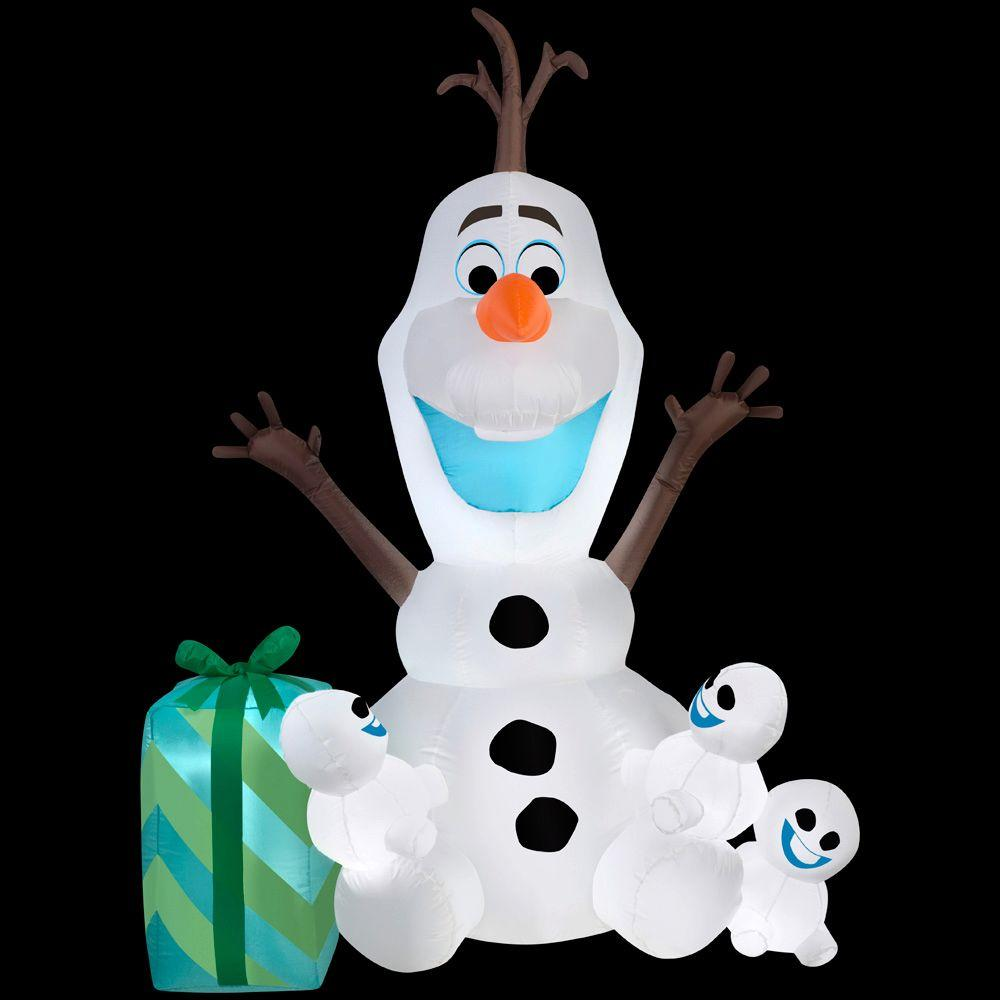 Disney 49.21 in. D x 40.95 in. W x 72.05 in. H Inflatable Olaf with Snowgies Scene