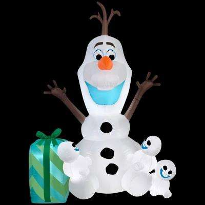 49.21 in. D x 40.95 in. W x 72.05 in. H Inflatable Olaf with Snowgies Scene