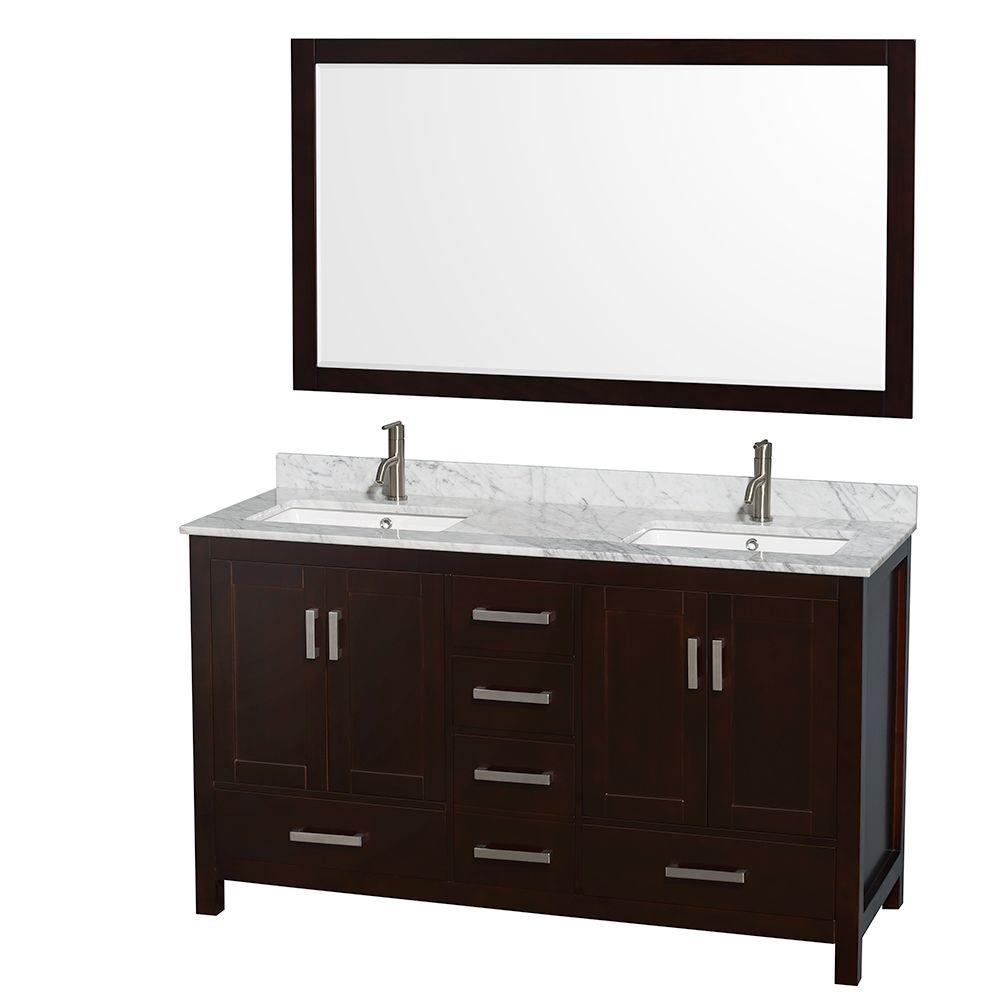 Wyndham Collection Sheffield 60 in. Double Vanity in Espresso with Marble Vanity Top in Carrara White and 58 in. Mirror