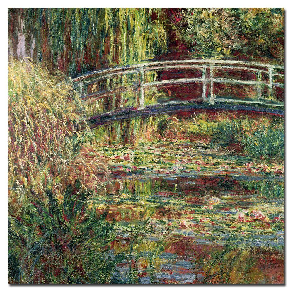 Trademark Fine Art 14 in. x 14 in. Waterlily Pond Pink Harmony; 1900 Canvas Art