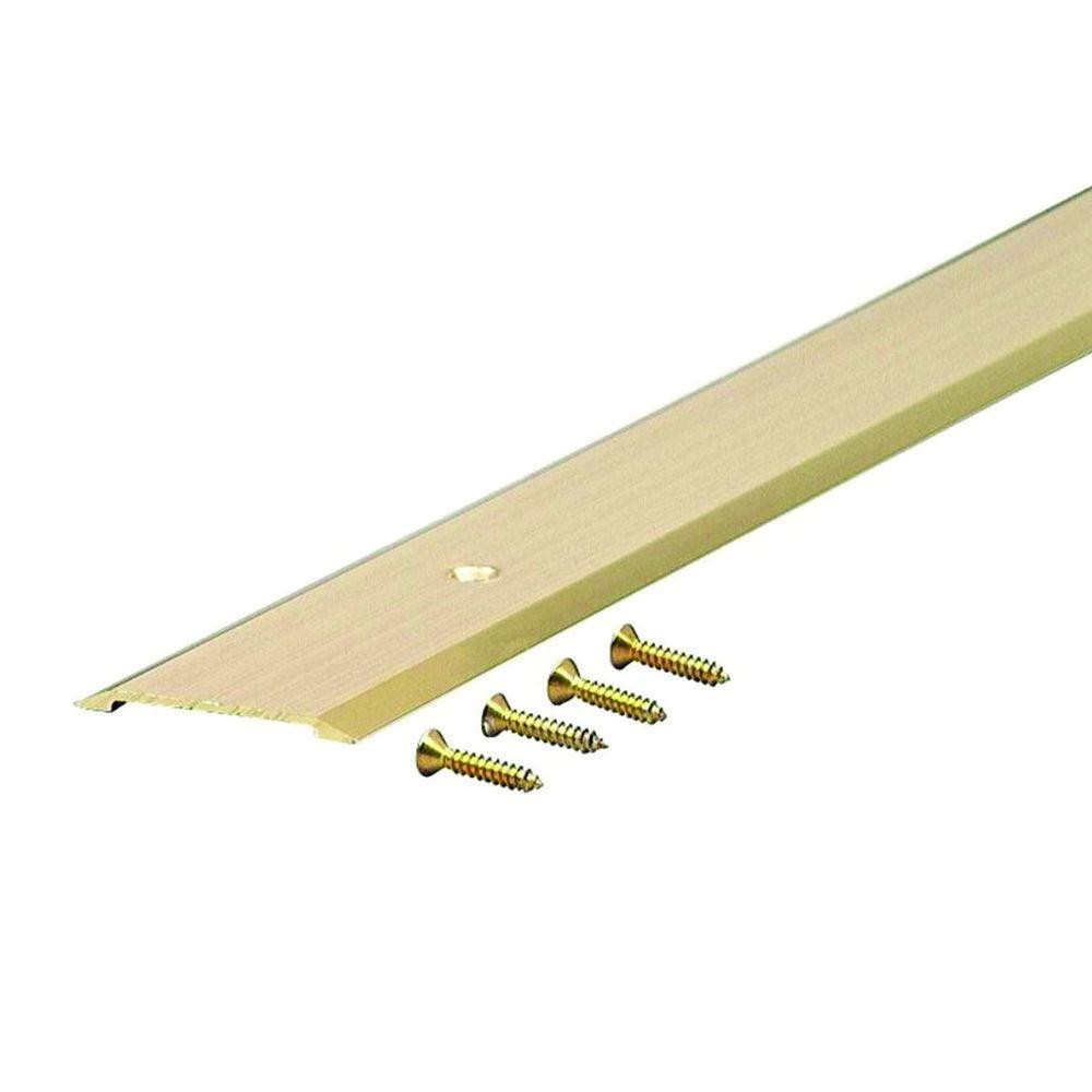 Flat Top 1-3/4 in. x 60 in. Brite Gold Aluminum Saddle Door Threshold