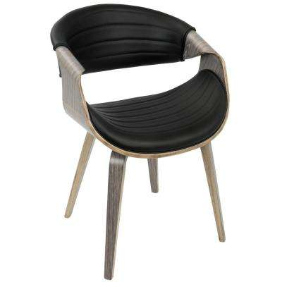 Symphony Mid-Century Light Grey and Black Modern Dining/Accent Chair with Faux Leather
