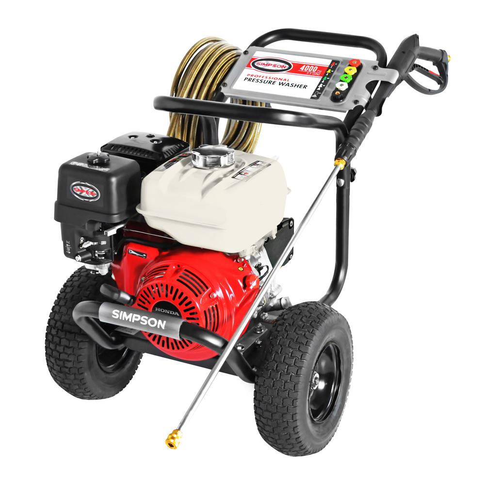 Simpson PowerShot 4000 PSI at 3.5 GPM Honda GX270 Cold Water Professional Gas Pressure Washer with AAA Industrial Triplex Pump