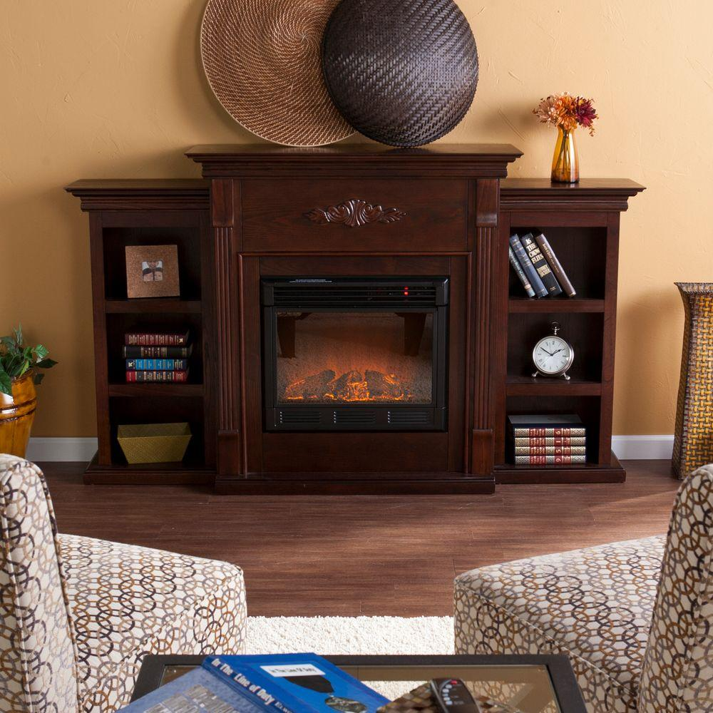 Southern Enterprises Tennyson 70 in. Electric Fireplace with Bookcases in Espresso