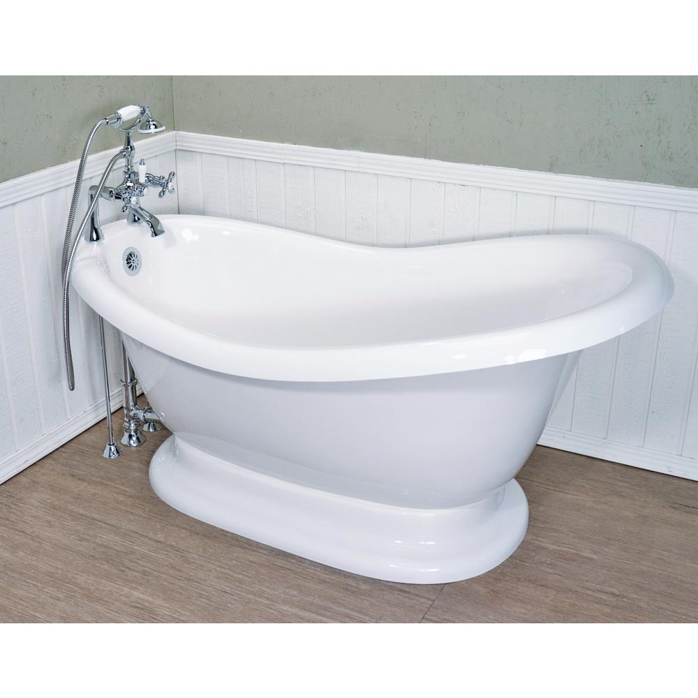 60 in. AcraStone Acrylic Slipper Pedestal Flatbottom Non-Whirlpool Bathtub and Faucet in Chrome