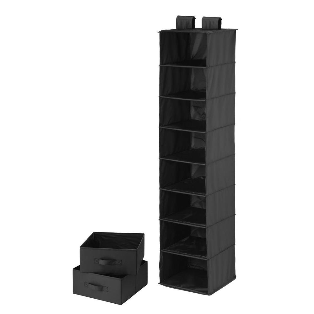8-Shelf Black Polyester Hanging Organizer with 2 Drawers
