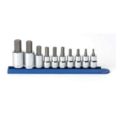 3/8 in. x 1/2 in. Drive Metric Hex Bit Socket Set (10-Piece)