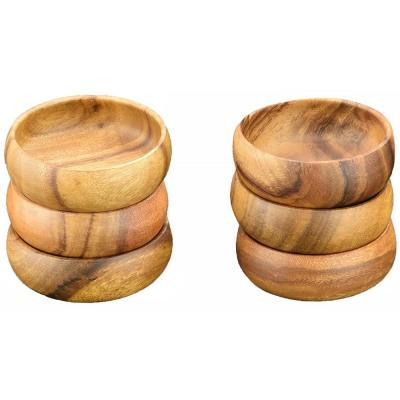 Natural 6 in. Wooden Salad and Pasta Bowl (Set of 6)