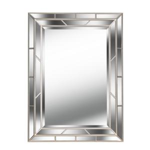 Medium Rectangle Bright Champagne Beveled Glass Contemporary Mirror (38 in. H x 28 in. W)