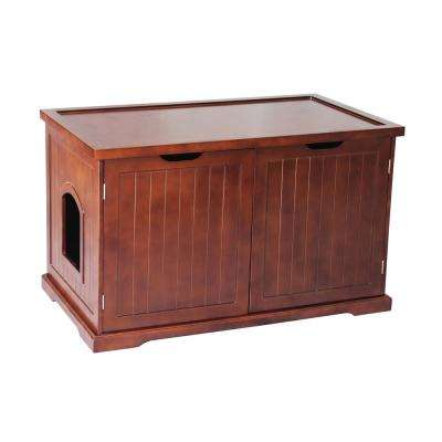 Walnut Cat Washroom Bench Litter Box Cover