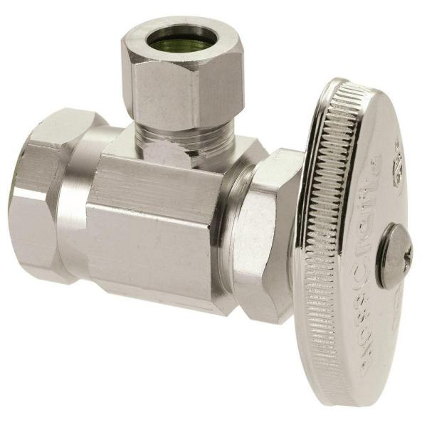 1/2 in. FIP Inlet x 3/8 in. Comp Outlet Multi-Turn Angle Valve in Polished Nickel