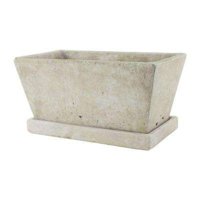 4-1/4 in. x 9-1/2 in. Tapered Cement Planter with Tray