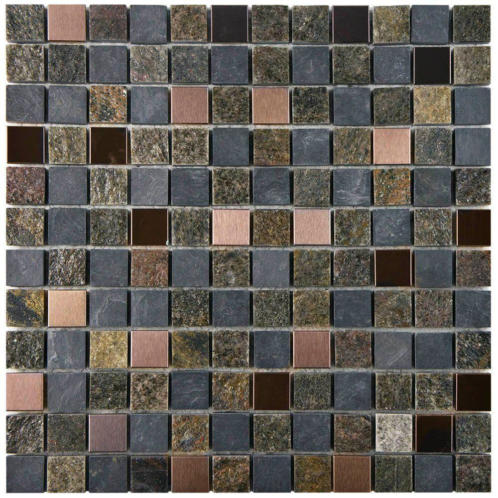 Merola Tile Granito Alloy Rosa 12 in. x 12 in. x 8 mm Metal and Natural Stone Mosaic Tile