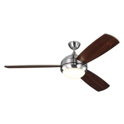 Discus Trio Max 58 in. LED Indoor/Outdoor Brushed Steel Ceiling Fan with Light Kit