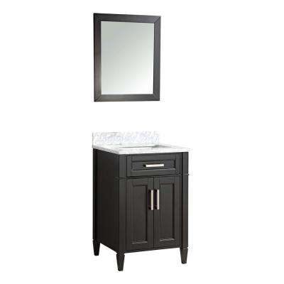 Savon 24 in. W x 22 in. D x 36 in. H Bath Vanity in Espresso with Vanity Top in White with White Basin and Mirror