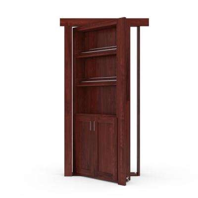 32 in. x 80 in. Flush Mount Assembled Forward Pantry Door Hickory Cherry Stained Right-Hand Outswing