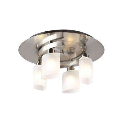 Contemporary Beauty 4-Light Satin Nickel Semi-Flush Mount with Frosted Glass