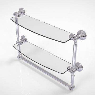 Waverly Place Collection 18 in. 2-Tiered Glass Shelf with Integrated Towel Bar in Polished Chrome