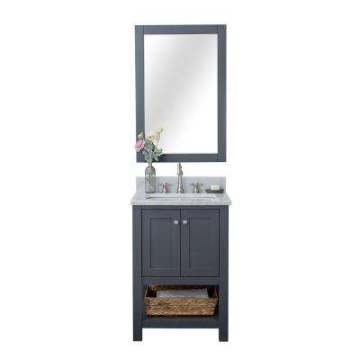 Wilmington 24 in. W x 34.2 in. H x 22 in. D Bath Vanity in Gray with Marble Vanity Top in White with White Basin