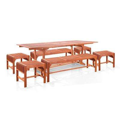 Malibu Wood 7-Piece Outdoor Dining Set Extention Table with Backless Benches
