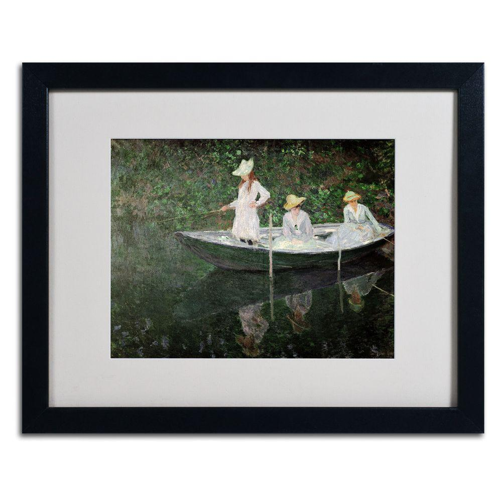 Trademark Fine Art 16 in. x 20 in. The Boat at Giverny Matted Black Framed Wall Art