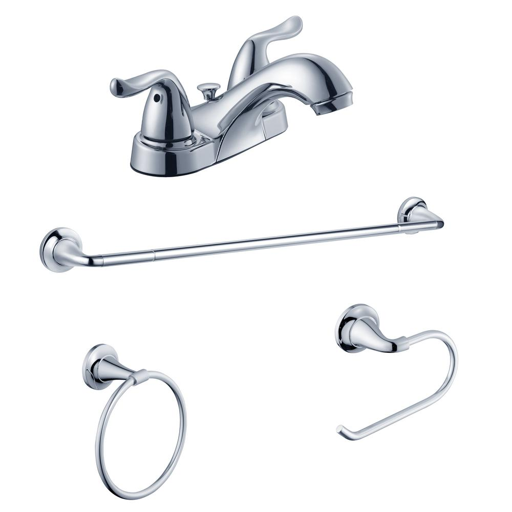 Constructor 4 in. Centerset 2-Handle Bathroom Faucet and Bath Accessory Value