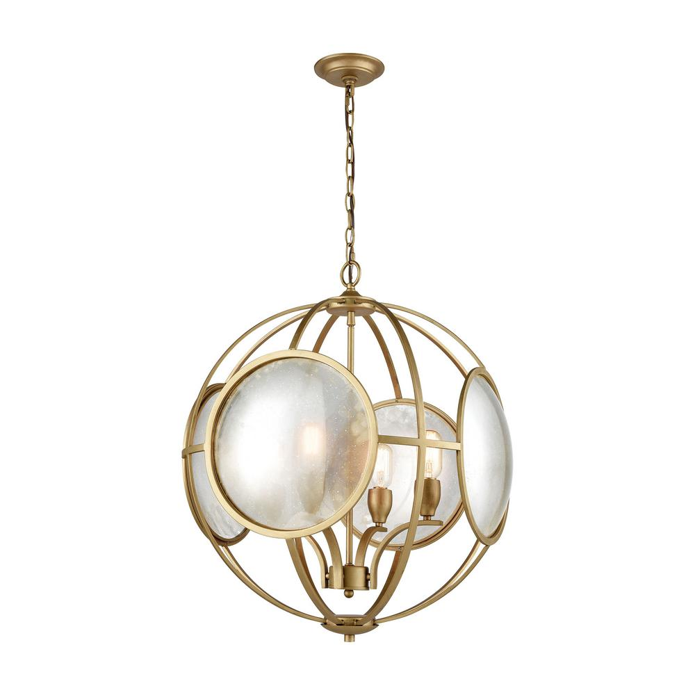 Titan Lighting Le Style Metro 4-Light Gold and Antique Mercury Glass Chandelier