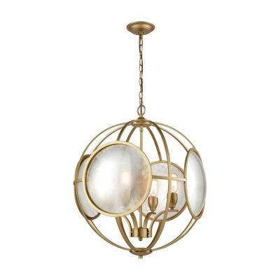 Le Style Metro 4-Light Gold and Antique Mercury Glass Chandelier