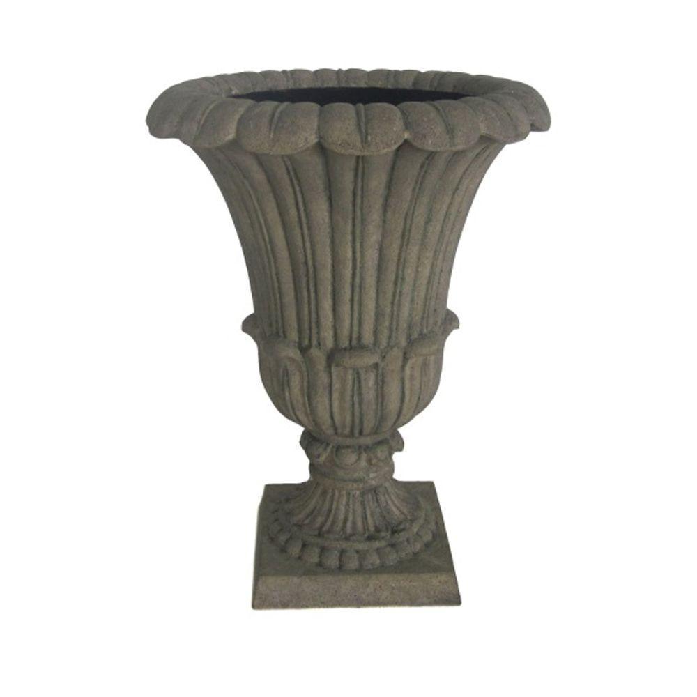MPG 16 in. x 21 in. Cast Stone Urn in Special Aged Granite