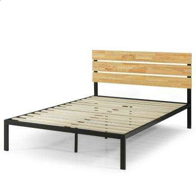 Paul Metal and Wood Platform Bed with Wood Slat Support, Queen